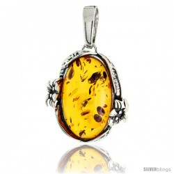 "Sterling Silver Floral Russian Baltic Amber Pendant w/ 25x14mm Oval-shaped Cabochon Cut Stone, 1 3/16"" (30 mm) tall"