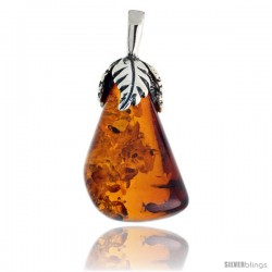 "Sterling Silver Floral Russian Baltic Amber Pendant w/ 30x15mm Pear-shaped Stone, 1 3/16"" (30 mm) tall"