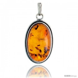 "Sterling Silver Oval Russian Baltic Amber Pendant w/ 25x15mm Oval-shaped Cabochon Cut Stone, 1 5/16"" (33 mm) tall"