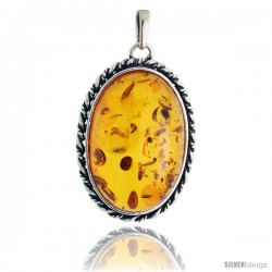 Sterling Silver Oval Russian Baltic Amber Pendant w/ Rope Edge Design, w/ 30x20mm Oval-shaped Cabochon Cut Stone, 1 1/2""