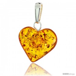 "Sterling Silver Heart Russian Baltic Amber Pendant w/ 20x22mm Stone, 15/16"" (24 mm) tall"