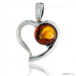 "Sterling Silver Heart Russian Baltic Amber Pendant w/ 10mm Round-shaped Cabochon Cut Stone, 3/4"" (20 mm) tall"