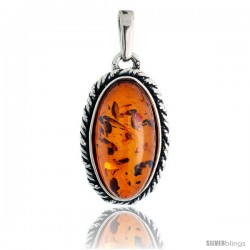 "Sterling Silver Oval Russian Baltic Amber Pendant w/ Rope Edge Design, w/ 20x10mm Oval-shaped Cabochon Cut Stone, 1"" (25 mm)"