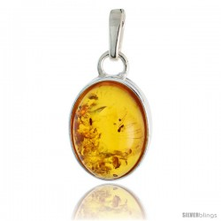 "Sterling Silver Oval Russian Baltic Amber Pendant w/ 16x12mm Oval-shaped Cabochon Cut Stone, 13/16"" (21 mm) tall"