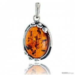 """Sterling Silver Oval Russian Baltic Amber Pendant w/ Beads, w/ 18x12mm Oval-shaped Cabochon Cut Stone, 1"""" (26 mm) tall"""