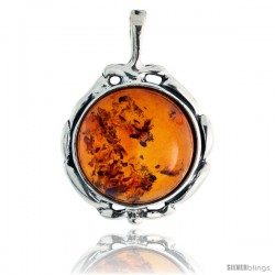 "Sterling Silver Russian Baltic Amber Pendant w/ 15mm Round-shaped Cabochon Cut Stone, 13/16"" (21 mm) tall"