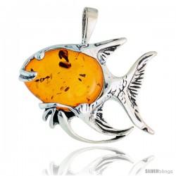 "Sterling Silver Fish Russian Baltic Amber Pendant w/ Cabochon Cut Stone, 1 1/4"" (31 mm) tall"
