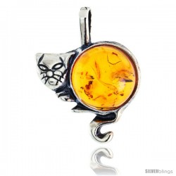 "Sterling Silver Cat Russian Baltic Amber Pendant w/ 12mm Round-shaped Cabochon Cut Stone, 3/4"" (20 mm) tall"