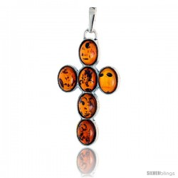 "Sterling Silver Cross Russian Baltic Amber Pendant w/ six 8x6mm Oval-shaped Cabochon Cut Stones, 1 1/2"" (39 mm) tall"