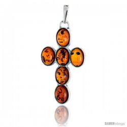 "Sterling Silver Cross Russian Baltic Amber Pendant w/ six 8x6mm Oval-shaped Cabochon Cut Stones, 1 1/2"" (39 mm) tall"