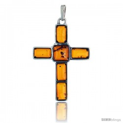 Sterling Silver Cross Russian Baltic Amber Pendant w/ one 8mm Square-shaped & five 8x4mm Rectangular Cabochon Cut Stones, 1