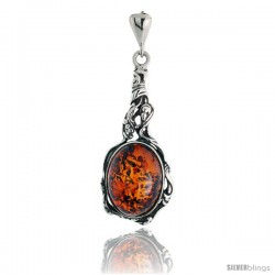 "Sterling Silver Russian Baltic Amber Pendant w/ 16x12mm Oval-shaped Cabochon Cut Stone, 1 1/2"" (38 mm) tall"