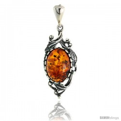"Sterling Silver Russian Baltic Amber Pendant w/ Leaves, w/ 14x10mm Oval-shaped Cabochon Cut Stone, 1 1/4"" (31 mm) tall"