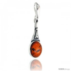 "Sterling Silver Oval Russian Baltic Amber Pendant w/ 10x8mm Oval-shaped Cabochon Cut Stone, 15/16"" (24 mm) tall"