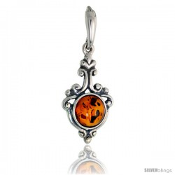 "Sterling Silver Russian Baltic Amber Pendant w/ 8mm Round-shaped Cabochon Cut Stone, 1"" (26 mm) tall"