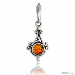 "Sterling Silver Diamond-shaped Russian Baltic Amber Pendant w/ 6mm Round-shaped Cabochon Cut Stone, 7/8"" (22 mm) tall"