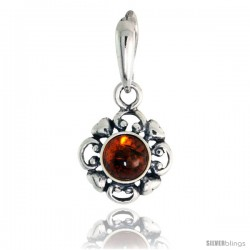 """Sterling Silver Flower Russian Baltic Amber Pendant w/ 6mm Round-shaped Cabochon Cut Stone, 5/8"""" (16 mm) tall"""