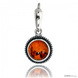"""Sterling Silver Rope Edge Design Russian Baltic Amber Pendant w/ 8mm Round-shaped Cabochon Cut Stone, 1/2"""" (13 mm) tall"""