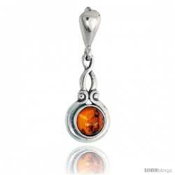 "Sterling Silver Russian Baltic Amber Pendant w/ 6mm Round-shaped Cabochon Cut Stone, 13/16"" (21 mm) tall"