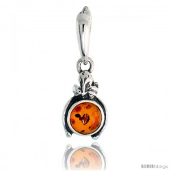 "Sterling Silver Floral Russian Baltic Amber Pendant w/ 6mm Round-shaped Cabochon Cut Stone, 9/16"" (15 mm) tall"