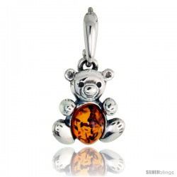 "Sterling Silver Teddy Bear Russian Baltic Amber Pendant w/ 8x6mm Oval-shaped Cabochon Cut Stone, 5/8"" (16 mm) tall"