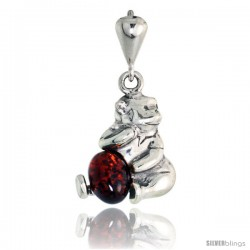 """Sterling Silver Floral Russian Baltic Amber Pendant w/ 38x28mm Oval-shaped Cabochon Cut Stone, 1 3/4"""" (46 mm) tall"""