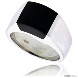 "Sterling Silver Ladies' Ring w/ a Square-shaped Jet Stone, 3/8"" (9 mm) wide"