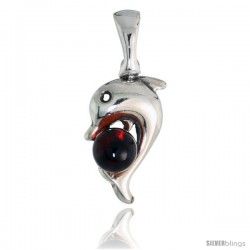 """Sterling Silver Dolphin Russian Baltic Amber Pendant w/ 5mm Round-shaped Cabochon Cut Stone, 11/16"""" (18 mm) tall"""