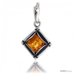 "Sterling Silver Diamond-shaped Russian Baltic Amber Pendant w/ 8mm Square-shaped Cabochon Cut Stone, 3/4"" (20 mm) tall"