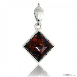 "Sterling Silver Diamond-shaped Russian Baltic Amber Pendant w/ 10mm Square-shaped Cabochon Cut Stone, 3/4"" (19 mm) tall"