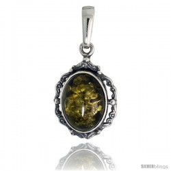 "Sterling Silver Floral Russian Baltic Amber Pendant w/ 16x12mm Oval-shaped Cabochon Cut Green Amber Stone, 1"" (25 mm) tall"