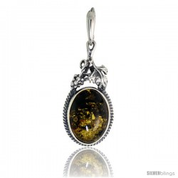Sterling Silver Amber Stone Russian Baltic Amber Pendant