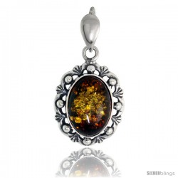 Sterling Silver Amber Stone Russian Baltic Amber Pendant -Style Amp88