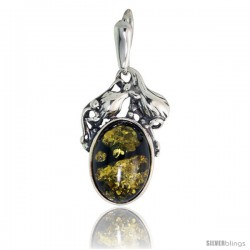 Sterling Silver Amber Stone Russian Baltic Amber Pendant -Style Amp89