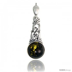 Sterling Silver Amber Stone Russian Baltic Amber Pendant -Style Amp90
