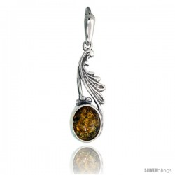 Sterling Silver Amber Stone Russian Baltic Amber Pendant -Style Amp91