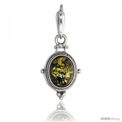 Sterling Silver Amber Stone Russian Baltic Amber Pendant -Style Amp94