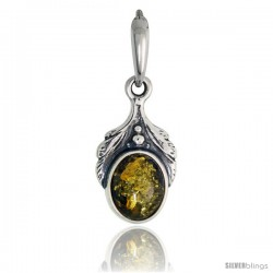 Sterling Silver Amber Stone Russian Baltic Amber Pendant -Style Amp95