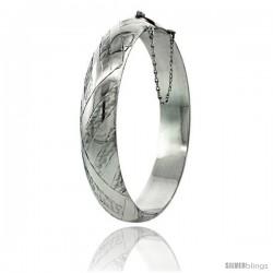 Sterling Silver Bangle Bracelet Braid Pattern Hand Engraved 1/2 in wide