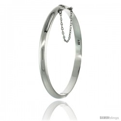 Sterling Silver Bangle Bracelet High Polished Thin 3/16 in wide