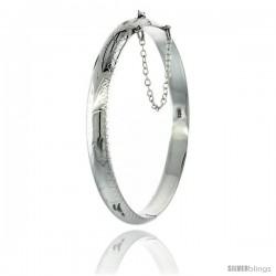 Sterling Silver Bangle Bracelet Floral Pattern Hand Engraved 1/4 in wide
