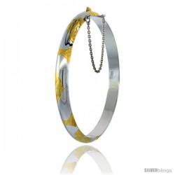 Sterling Silver Bangle Bracelet 2 Tone Floral Pattern Engraved 1/4 in wide