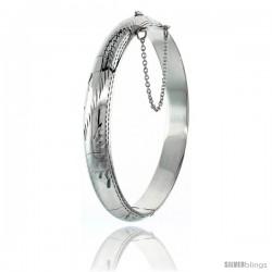Sterling Silver Bangle Bracelet Floral Pattern Hand Engraved 3/8 in wide