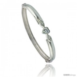Sterling Silver Bangle Bracelet High Polished Heart w/ Cubic Zirconia Stones, 1/4 in wide