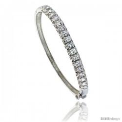 Sterling Silver Bangle Bracelet 18-Stone w/ Cubic Zirconia Stones, 3/16 in wide
