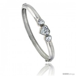 Sterling Silver Bangle Bracelet High Polished Cut-out Leaf w/ Cubic Zirconia Stones, 3/4 in wide