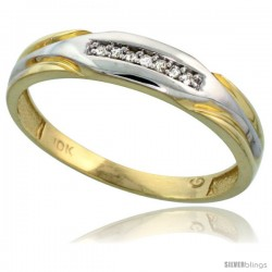 10k Yellow Gold Mens Diamond Wedding Band Ring 0.04 cttw Brilliant Cut, 3/16 in wide -Style 10y014mb