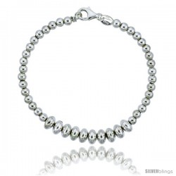Sterling Silver Saucer Bead Bracelet), 1/4 in. (7 mm) wide