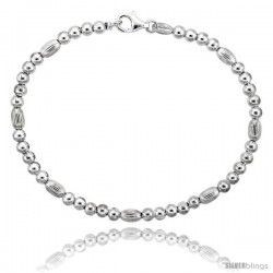 Sterling Silver Corrugated Bead Bracelet), 3/16 in. (4 mm) wide
