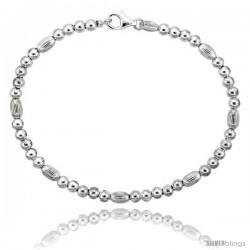 Sterling Silver Corrugated Bead Bracelet), 3/16 in. (4 mm) wide